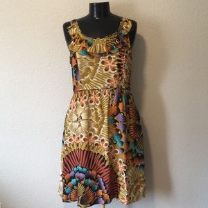 Anthro 100% silk floral feather dress